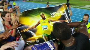 Usain Bolt-plansch, 2017.