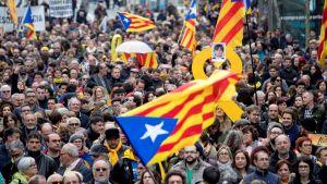 Demonstration i Barcelona i protest mot gripandet av Carles Puigdemont.