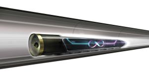 Hyperloop-tåg i tunnel.