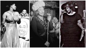 Ella Fitzgerald lavalla: Chick Webbin kanssa (vas), Dizzy Gillespien kanssa ja Helsingissä 1965.