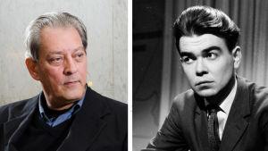 Kuvaparissa kirjailija Paul Auster ja  kirjailija Pentti Saarikoski