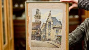 """Akvarellmålningen """"Standesamt und Altes Rathaus München"""" av Adolf Hitler."""