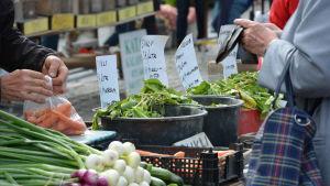Grönsakshandel på Salutorget i Åbo.