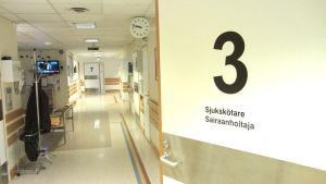 En korridor på ett sjukhus med många dörrar.