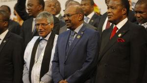 Sudans president Omar al-Bashir  under sitt besök i Sydafrika 14 juni 2015.