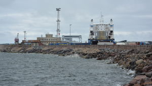 Vågbrytare vid Hangö hamn.