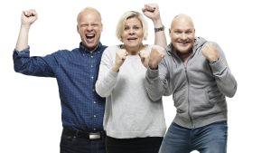 Villi kortti -ohjelma: kuvassa Ville Myllyrinne, Paula Noronen ja Kalle Palander.