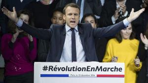 Emmanuel Macron på valtillställning i Parc des Expositions i Paris i december 2016.