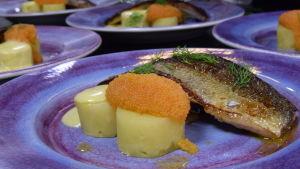 Halstrad sik med rom och potatisbakelse
