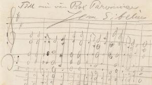Jean Sibelius tonhälsning till Oscar Parviainen, odaterad. Nationalbiblioteket.