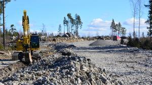 Infarten från Myrgrundsvägen till det nya bostadsområdet i Yttersundom