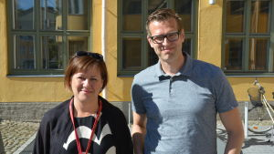 Professor Elina Pirjatanniemi och vicerektor Niklas Sandler.