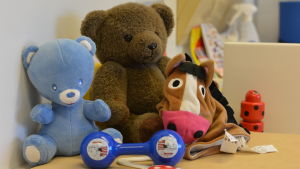 Leksaksdjur på en rådgivningsmottagning.