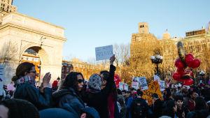 Demonstration under internationella kvinnodagen i New York den 8 mars 2017.