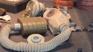 En sovjetisk gasmask på Hangö frontmuseum.
