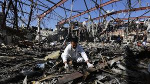 Begravningslokalen i Sanaa två dagar efter flygräden den 8 oktober 2016