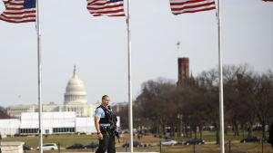 USA:s huvudstad Washington den 12 januari 2017 med kongressbyggnaden i bakgrunden.