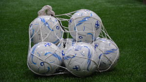 Fotbollar inne i ett nät.