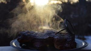 Rykande t-bone steak med termometer ute
