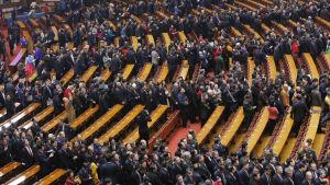 Öppningen av folkkongressen i Kinas huvudstad Peking den 3 mars 2016.
