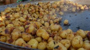 Nystekta nypotatis blev pytt i panna på potatisfestivalen de vita päron i Nagu.