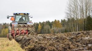 Jordbrukaren Petter Juslin plöjer åkern.