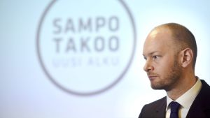 Sampo Terho på presskonferensen där han kickade igång sin partiordförandekampanj.