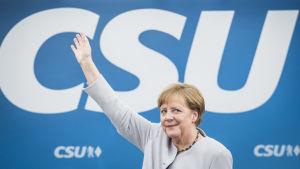 Tysklands förbundskansler Angela Merkel på ett valmöte i München den 27 maj 2017.