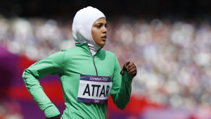 Sarah Attar springer 800 meter i hijab i OS i London.