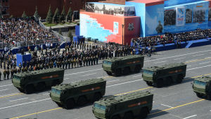 Det nya Iskander missilsystemet visades upp vid segerdagsparaden på Röda torget i Moskva i maj år 2015