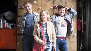 Actors Esa Latva-Äijö, Janne Kataja and Karoliina Vanne