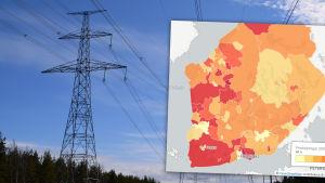 Karta över prisutvecklingen för elöverföring