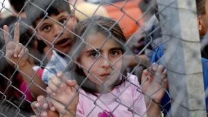 Syriska flyktingbarn bakom ett stängsel i flyktinglägret distriktet Nizip i Turkiet 2016.
