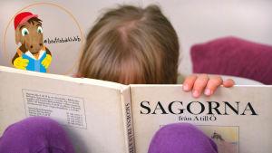 Flicka bakom barnbok Sagorna A till Ö. Bärtils bokklubb logo i hörnet