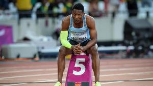 Isaac Makwala på stadion i London.