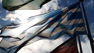 Den grekiska flaggan bland andra EU-flaggor i Strasbourg 23.6.2015.