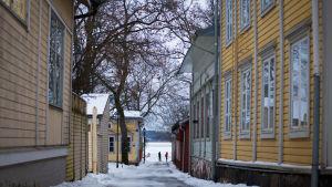 Talvinen katunäkymä Tammisaaressa.