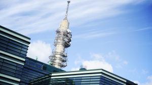 taivasta ja korkea torni rakennuksen takana