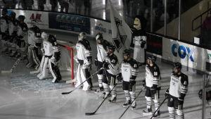 Spelarna ställer upp sig på isen innan slutspelsmatchen börjar.