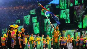Färgglada kläder på Maracana-stadion.