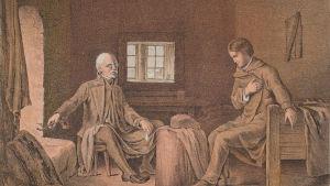 """""""Runeberg hos fänrik Stål"""". Ur """"Taflor till Fänrik Ståls sägner med finska arméns uniformer 1808-1809"""" av Staaf, Stockholm. Kolorerat tryck."""