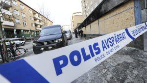 Polisavspärrning i Eskilstuna.
