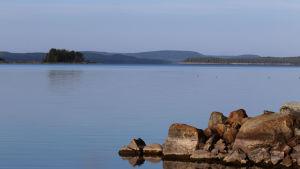 Rantakivikko Pielinen järvellä. Kesäinen ilta.