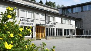 Bild på ett gymnasium med blommor i förgrunden