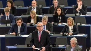 Jean-Claude Juncker talar i Europarlamentet den 17 maj 2017