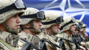 Georgiska soldater vid en öppningsceremoni av en gemensam övning med Nato i augusti 2015.