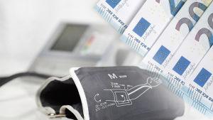 Symbolbild föreställande en blodtrycksmätare och en hög med sedlar.