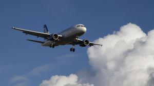 Finnairs Airbus A319 på väg att landa. (Arkivbild)