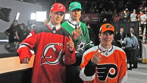 Nico Hischier, Miro Heiskanen och Nolan Patrick efter draften