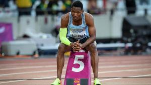 Isaac Makwala på startplatsen.